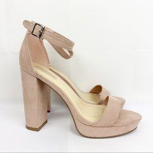 [Forever 21] Blush Pink Faux Suede Platform Heels